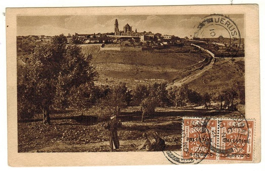 PALESTINE - 1921 6m rate postcard use to France used at JERUSALEM.
