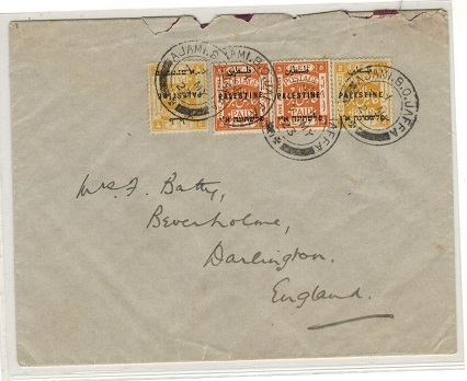 PALESTINE - 1923 14m rate cover to UK used at AJAMI B.O.