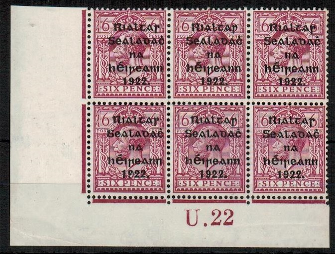 IRELAND - 1922 6d reddish purple