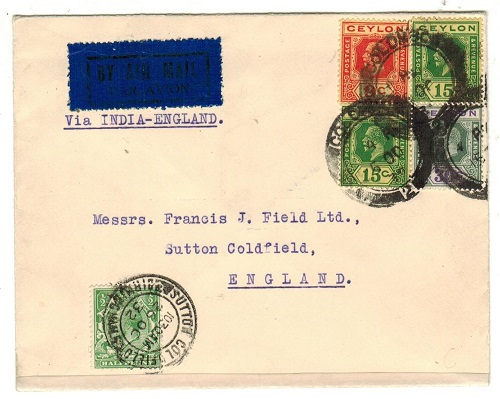 CEYLON - 1932 first flight cover to UK.
