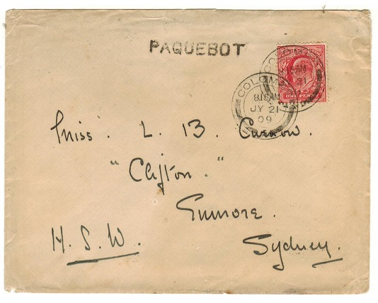 CEYLON - 1909 cover to Australia with