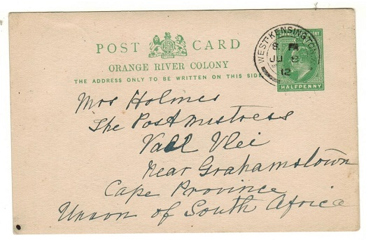 CAPE OF GOOD HOPE - 1912 inward use of 1/2d green PSC (H&G 35) used at WEST KENSINGTON in the UK.