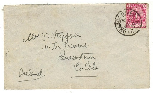 CAPE OF GOOD HOPE - 1900 1d rate cover to Ireland used at ORANGE RIVER.