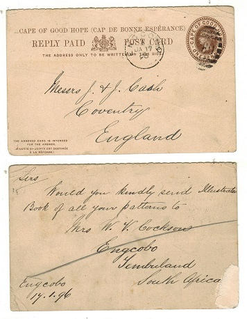CAPE OF GOOD HOPE - 1892 reply section of the 1d+1d brown PSRC to UK used at ENGCOBO.  H&G 7.