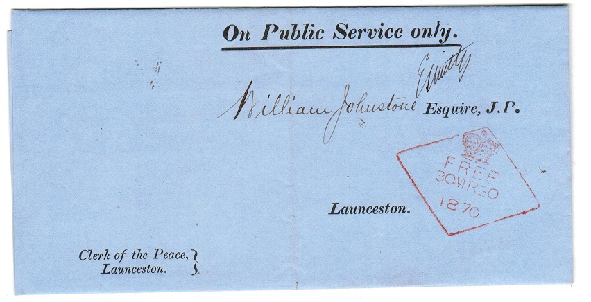 AUSTRALIA (Tasmania) - 1870 ON PUBLIC SERVICE envelope used locally.