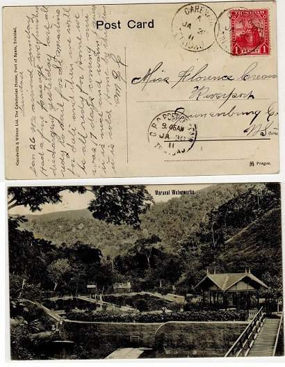 TRINIDAD AND TOBAGO - 1911 1d rate postcard use to Canada used at CARENAGE.