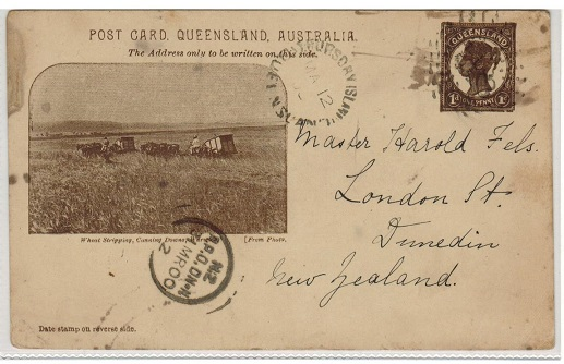 AUSTRALIA (Queensland) - 1898 1d chocolate PSC to New Zealand used at THURSDAY ISLAND.  H&G 10.