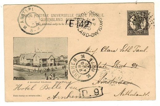 AUSTRALIA (Queensland) - 1898 1 1/2d black PSC to Netherlands used at THURSDAY ISLAND.  H&G 11.