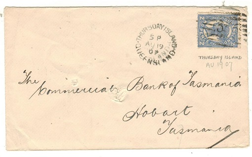 AUSTRALIA (Quensland) - 1907 2d rate cover to Tasmania used at THURSDAY ISLAND.