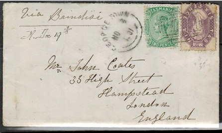 AUSTRALIA (Tasmania) - 1881 8d rate cover to UK used at GEORGE TOWN.