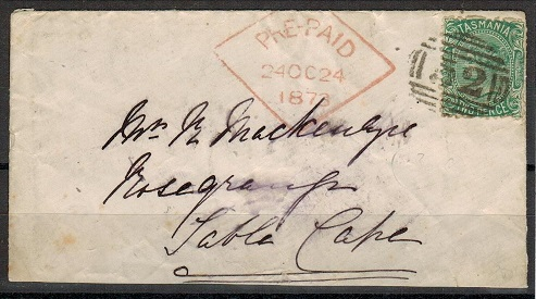 AUSTRALIA (Tasmania) - 1873 2d rate cover to South Africa struck