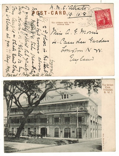 TRINIDAD AND TOBAGO - 1908 1d rate postcard use to UK used at CLAXTON BAY.