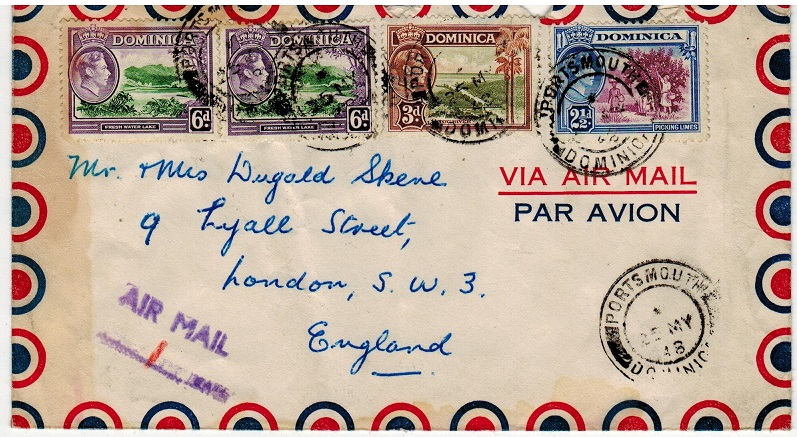DOMINICA - 1948 cover to UK used at PORTSMOUTH with