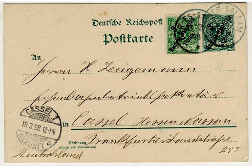 TANGANYIKA (German Offices) - 1896 3 pesa on 5pfg green PSC uprated to Germany used at DAR-ES-SALAAM