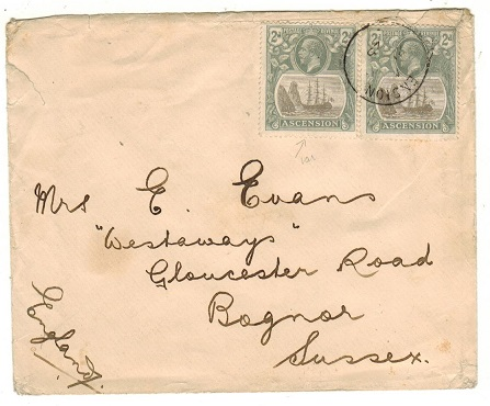 ASCENSION - 1925 4d rate cover to UK.