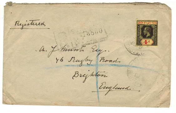 FIJI - 1919 4d rate registered cover to UK.