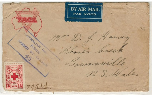 AUSTRALIA - 1943 stampless local cover with