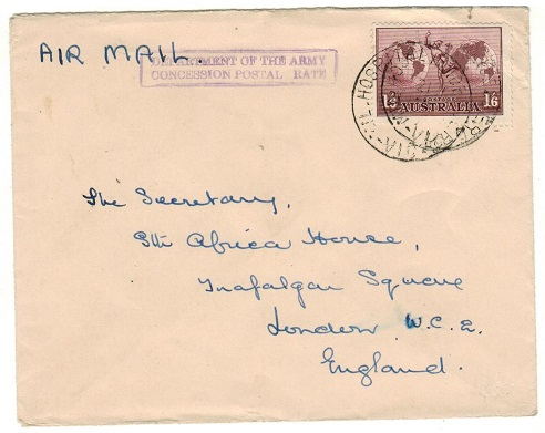 AUSTRALIA - 1944 1/6d rate concessionary cover to UK used at MIL.HOSPITAL HEIDE.