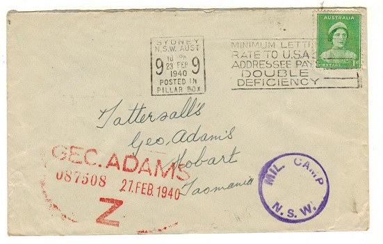 AUSTRALIA - 1940 1d rate local cover struck by