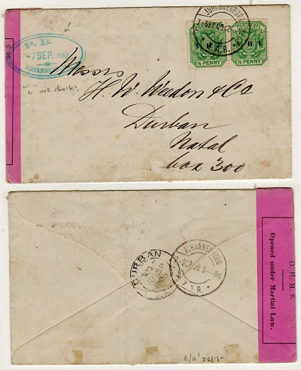 TRANSVAAL - 1900 1d rate censor cover to Natal with MISSING