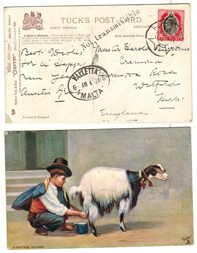 MALTA - 1906 1d rate postcard use to UK with NOT TRANSMISSIBLE handstamp applied.