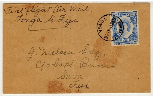 TONGA - 1941 first flight cover to Fiji.