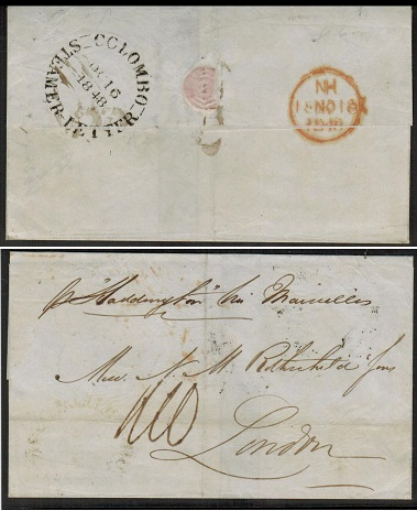 CEYLON - 1848 use of outer wrapper to UK struck COLOMBO/STEAMER LETTER.