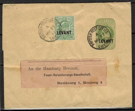 BRITISH LEVANT - 1905 1/2d green postal stationery wrapper uprated to Germany at SMYRNA.  H&G 12.