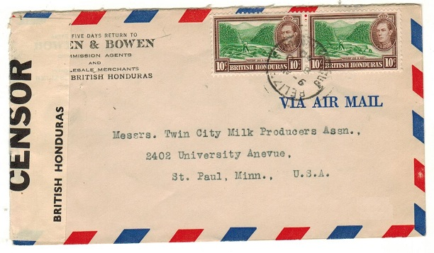 BRITISH HONDURAS - 1940 20c rate commercial censor cover to USA with scarcer Little CL1 label.