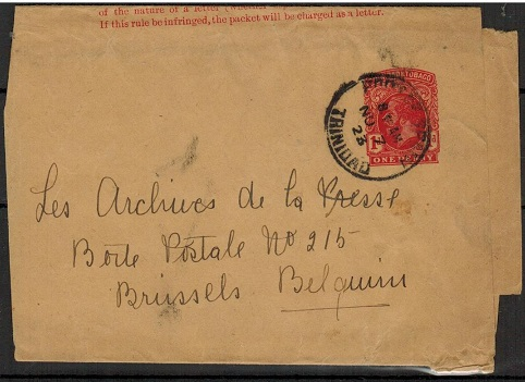 TRINIDAD AND TOBAGO - 1915 1d carmine postal stationery wrapper used to Belgium.  H&G 2.