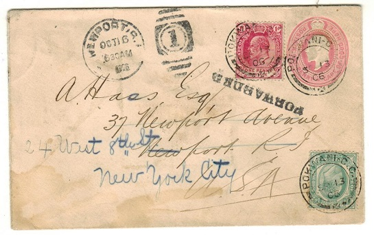 CAPE OF GOOD HOPE - 1903 1d pink PSE uprated to UK at POKWANI-CAPE.  H&G 5c.