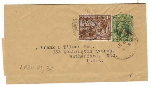 TRINIDAD AND TOBAGO - 1915 1/2d green postal stationery wrapper uprated to USA.  H&G 1.