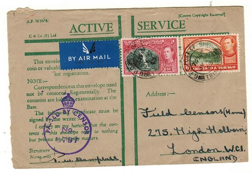 TRINIDAD AND TOBAGO - 1943 censored use of ACTIVE SERVICE green cross envelope to UK.