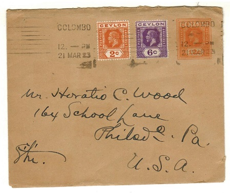 CEYLON - 1915 12c orange PSE to USA uprated at COLOMBO.  H&G 65.