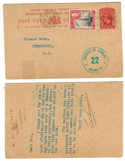 BERMUDA - 1912 1d red uprated