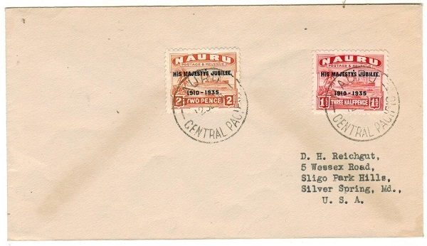 NAURU - 1935 3 1/2d rate cover to USA bearing