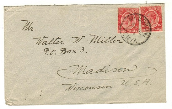 K.U.T. - 1934 10c rate cover to USA used at MUHORONI.