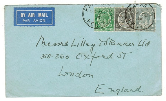 K.U.T. - 1934 65c rate cover to UK used at KAPSABET.