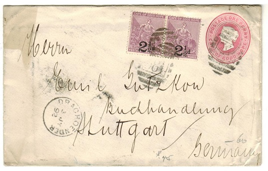 CAPE OF GOOD HOPE - 1892 1d pink PSE uprated with 2 1/2d on 3d surcharges at DRAGHOENDER.  H&G 2a.