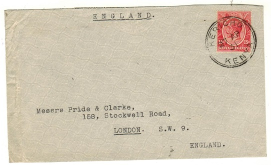 K.U.T. - 1931 15c rate cover to UK used at KERICHO.