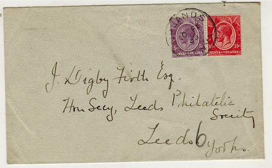 K.U.T. - 1935 20c rate cover to UK used at UPLANDS.