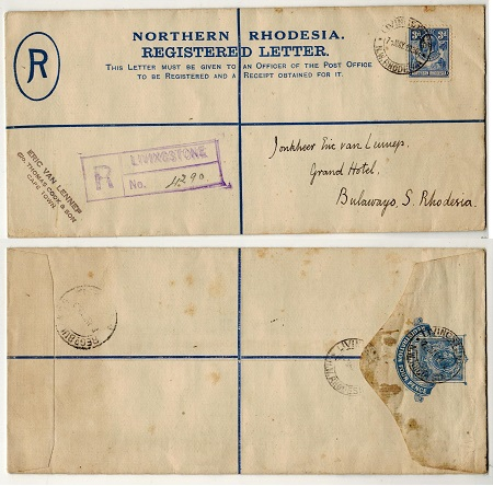 NORTHERN RHODESIA - 1924 4d ultramarine RPSE (size H2) uprated to Bulawayo at LIVINGSTONE.