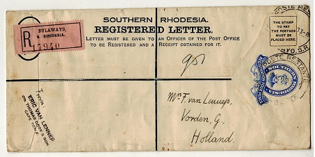 SOUTHERN RHODESIA - 1924 4d ultramarine RPSE (size H2) to Holland.  H&G 1a.