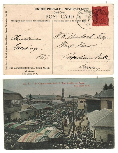 LAGOS - 1907 1d rate postcard use to UK used at BRASS.