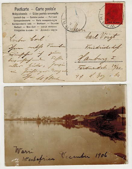 LAGOS - 1906 1d rate postcard use to Germany used at WARRI.