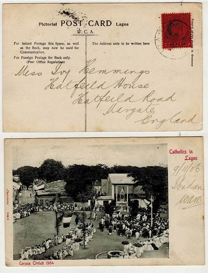 LAGOS - 1906 1d rate postcard use to UK used at IBADAN.