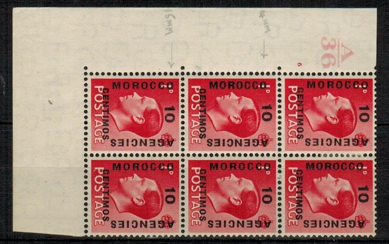 MOROCCO AGENCIES - 1936 10c on 1d scarlet