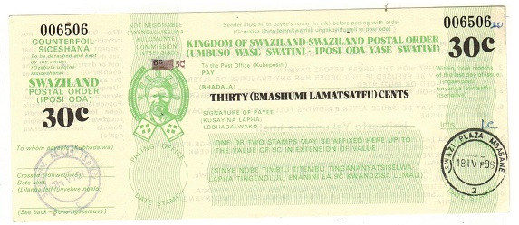 SWAZILAND - 1988 issued 30c green SWAZILAND POSTAL ORDER.