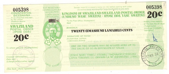 SWAZILAND - 1984 issued 20c green SWAZILAND POSTAL ORDER.