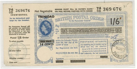 TRINIDAD AND TOBAGO - 1972 1/6d POSTAL ORDER issued at PORT OF SPAIN/TRINIDAD.